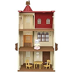 A three-storey house with lift Turn the weather vane to move the lift up and down The doors will automatically open and close when it reaches each floor Comes with poseable Persian Cat Girl one table and two chairs Sylvanian Families' miniature dollh...