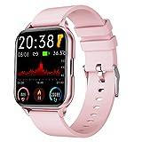 FMSBSC Smartwatch Hombre Mujer Reloj Inteligente Medición de Temperatura Corporal, 24 Modos Deportivos, Pulsómetros, Monitoreo de calorías/Sueño/Presión Arterial, Pulsera Actividad Inteligente,Rosado