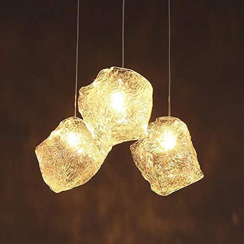 ZZYJYALG TEMBAC moderna minimalista creativo de 3 cabezales de cristal de hielo de la lámpara pendiente Cubos iluminación de la lámpara de techo de altura regulable LED Lámpara colgante de comedor Sal