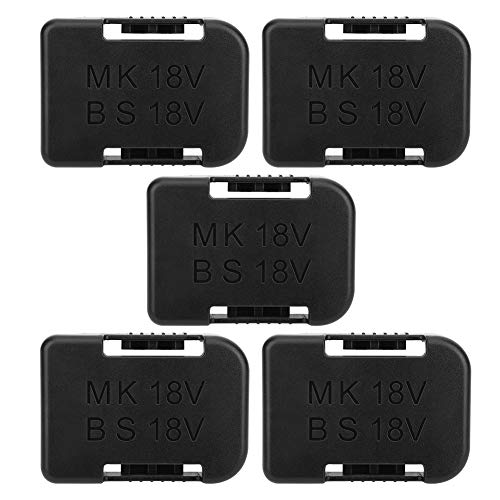 Dpofirs Estante de Almacenamiento para Baterías, 5 PCS Funda de Plástico Portátil para Bos-ch 18V para Maki-ta 18V, Soporte Duro de Fijamiento para Baterías con Ranuras para Cinturas(Negro)