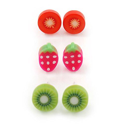Children's/Teen's/Kid's Fimo Red Tomato, Deep Pink Strawberry & Light Green Kiwi Fruit Stud Earrings Set - 10mm Across