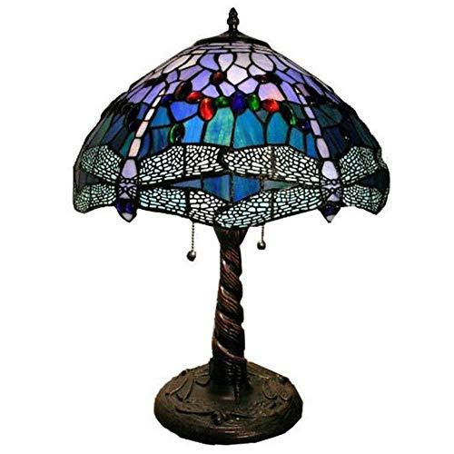 11.8 pulgadas de estilo Tiffany Lámpara de mesa Dragonfly Iluminación creativa retro hecha a mano sombras de vidrio luz de noche con interruptor de cremallera para barra de café luces nocturnas
