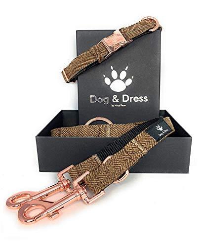 Dog & Dress by Nacy Kena Hundehalsband Und Leine Set, Rosegold, Verstellbar,Hundeleine, 2m, 3 Ringe, Karabiner, Große Kleine Hunde, Tweed Nylon, Geschenk Hund (M/L 40-63 cm, Hellbraun)