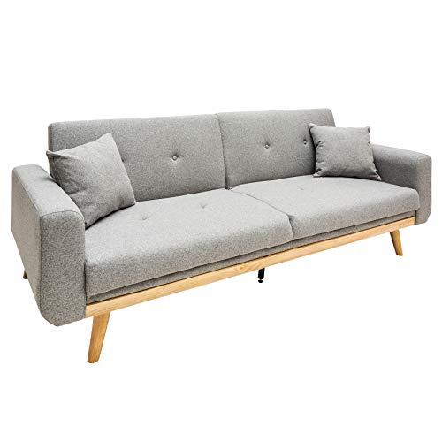 Riess Ambiente Design Schlafsofa Skagen 215cm hellgrau Scandinavian Design Bettfunktion Sofa Schlafcouch Schlaffunktion