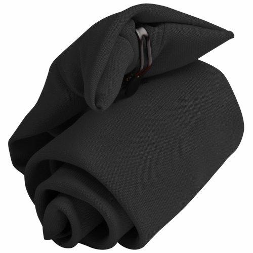 Premier Tie - Corbata Quita y Pon Lisa Modelo Clip-on Hombre Caballero - Trabajo/Restaurante (Paquete de 2) (Talla Única) (Negro)
