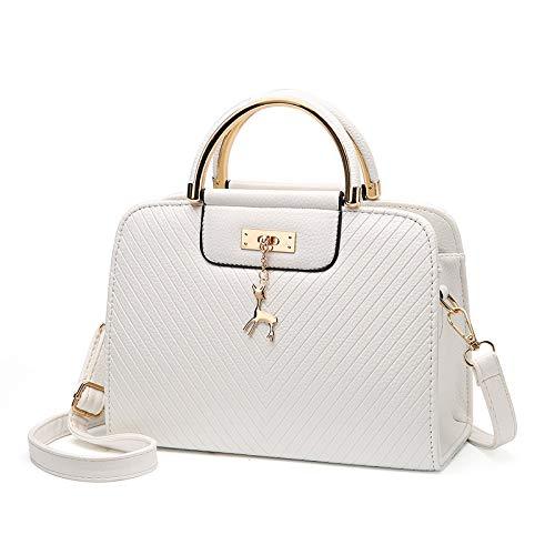 新品 Simple deer twill handbag across bags for women with iron rings, one shoulder bag, crossbody bag(white)