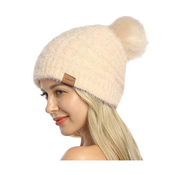 ViGrace Womens Winter Hat Slouchy Warm Beanie Chenille Hats Detachable Faux Fur Pom Pom Baggy Cap with Fleece Lined for Women