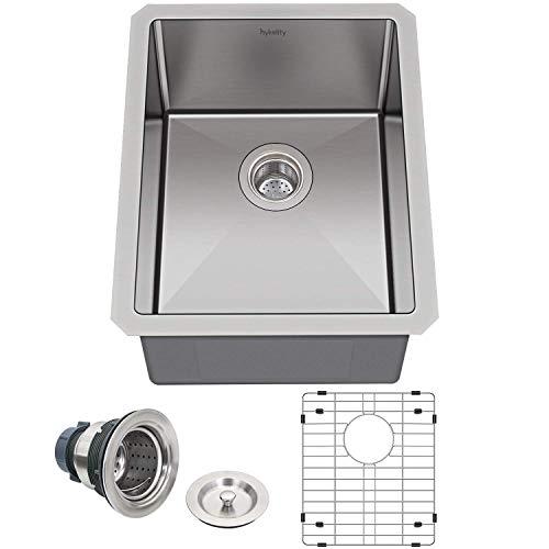 Hykolity 15 in. Undermount Stainless Steel Bar Sink, 16 Gauge Single Bowl Kitchen Prep Sink with Strainer & Bottom Grid, 15' x 17' x 10'