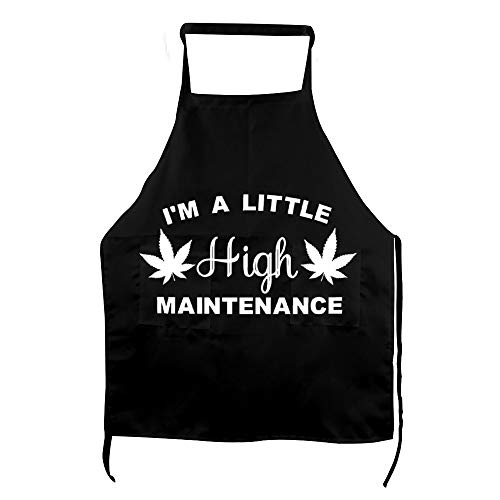No branded Personalised Apron, I'm A Little High Maintenance Leaf Silhouette Weed Cannabis Kitchen Apron,Cooking Accessories,Gift for Baker,Gifts for The Chef,Baking Gifts,Funny Quote Apron