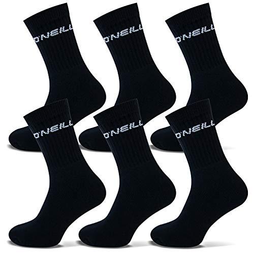 O'Neill | Unisex | Set di 6 calzini sportivi | Calzini sportivi per il tempo libero | tinta unita per uomini e donne Nero 39-42