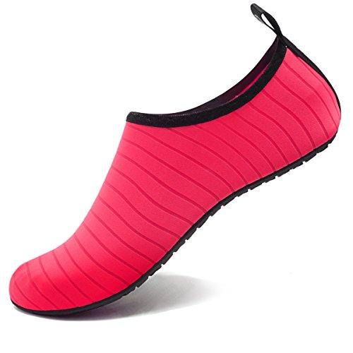 VIFUUR Zapatos de Agua Aqua Yoga para Mujer Hombre Rojo EU42/43