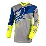 O'NEAL | Mountainbike Langarm-Shirt | Kinder | MTB DH FR Downhill Freeride | Atmungsaktives Material, Gepolsterter Ellbogenschutz | Element Youth Jersey Factor | Grau Blau Neon-Gelb | Größe XL