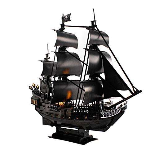 KongLyle 3D Puzzles Pirate Ship with Warm Light LED Bulbs, Sailboat Model Building Kits Toy Cool Room Decor, for Boys and Girls on Birthday Holiday
