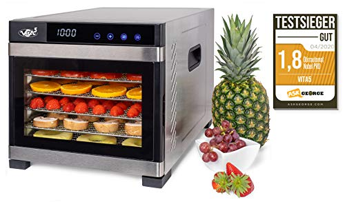Deshidratador Alimentos Acero Inoxidable • Temporizador 24 horas • Temperatura: 35 a 75ºC + EXTRA: 1x Malla fina y 1x Bandeja Antigoteo • Vita5 Nobel Pro (6 Bandejas)