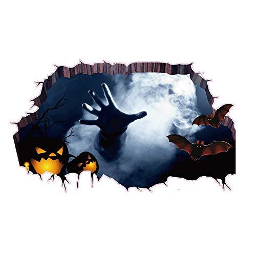JUNGEN Pegatina de pared de Halloween 3D Murciélagos y la Mano Piso Pared Pegatina Extraíble Mural Calcomanías Vinilo Arte Sala Decoración para Halloween
