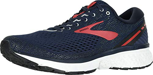 Brooks Mens Ghost 11 Running Shoe - Navy/Red/White - D - 9.5
