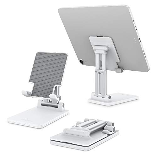 OMOTON Tablet Phone Stand Holder Foldable, Height Adjustable Dual Supporting Rods Tablet Stand Holder Cradle Dock for Desk Applied to iPad Air Mini (5-11in) Samsung Tabs and More, White
