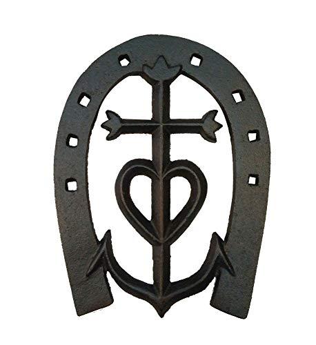 Minline-shop - Decoración de pared de hierro fundido, diseño de herradura con cruz de camarga, 20 cm