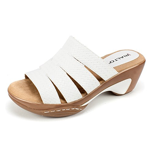 Rialto Women's Valora Sandal White/Woven Size 8.5M Slide, 8.5