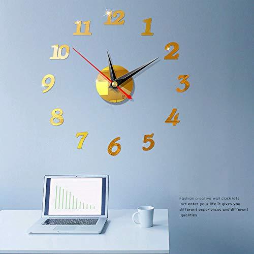 BAO Große DIY rahmenlose Wanduhr Moderne stumme 3D-Wanduhr Spiegelaufkleber Home Office Dekorationen Geschenk, Dekorationen für Wohnzimmer Home Office (Yellow, One Size)