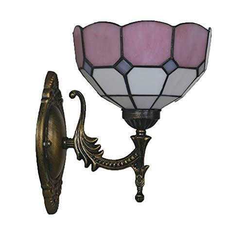 TINE Lámpara de Pared de vidrieras Tiffany Vidrio de Superficie de Bloque de Color múltiple Decoración de luz de 20 cm de diámetro. Luz Delantera de Espejo de Dormitorio de Pared,Rosado