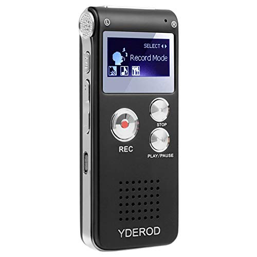 YDEROD 8GB Digital Voice Activated Recorder for Lectures, Meetings, Interviews - HD Sound Mini Portable Audio Recorder with Playback, USB, MP3, A-B repeat