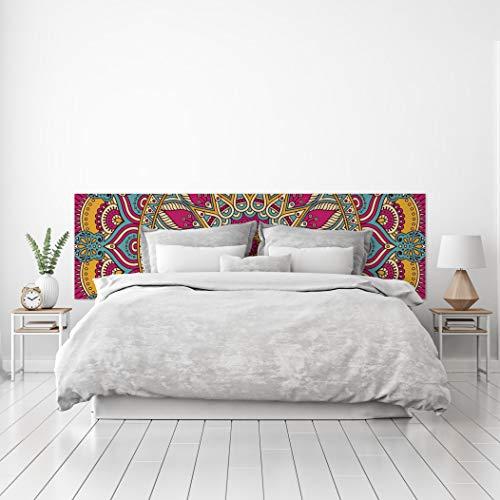 MEGADECOR Cabecero Cama PVC Decorativo Económico Diseño Geométrico Mandala Rojo Verde Detallado (200 cm x 60 cm)