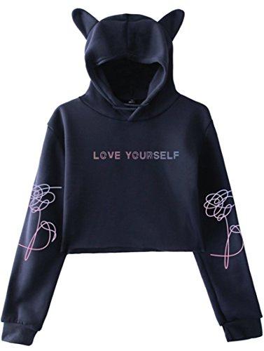 EMILYLE Femme Sweat à Capuche BTS Bangtan Boys Love Yourself Sweatshirt Pull Oreilles de Chat Kpop...