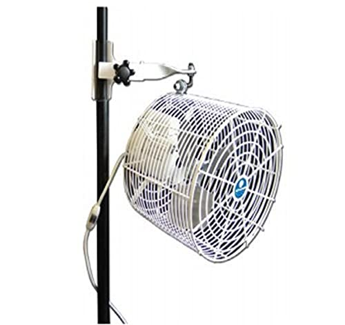 SCHAEFER VK12TF-TPM-W VersaKool Tent Fan, Wired Cord, Twin Tube Pole Mount, All White, Blade Material: Aluminum, 1/10 hp, 12'