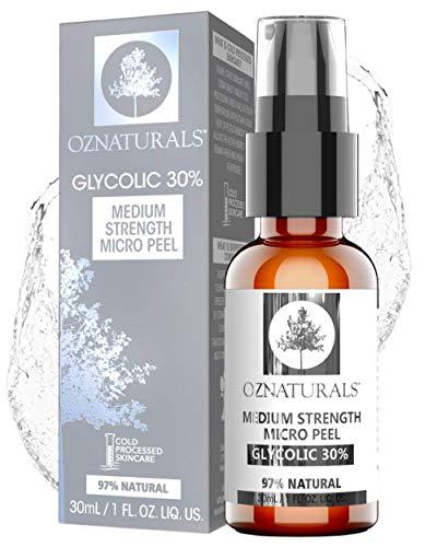 OZNaturals 30% Aha Glycolic Acid Facial Peel Anti Aging Face Exfoliant & Pore Minimizer Face Wash Gentle Chemical Peels For Face & Acne Scar Treatment 29.57 ml