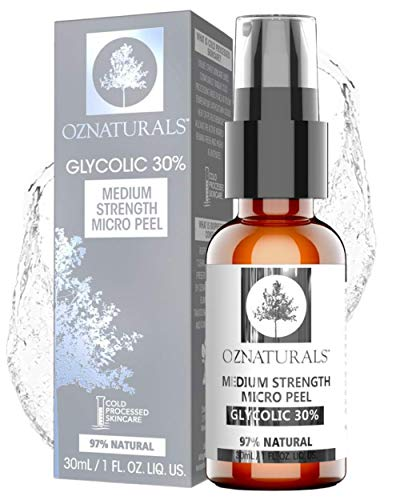 OZNaturals 30% AHA Glycolic Acid Facial Peel - Anti Aging Face Exfoliator & Pore Minimizer Face Wash - Gentle Chemical Peels For Face & Acne Scar Treatment