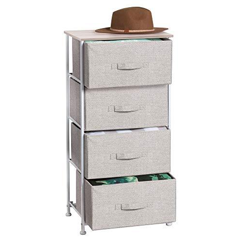 mDesign Comoda con 4 cajones - Organizador de armarios y vestidores en tela - Cajoneras para armarios, para el dormitorio o el cuarto de los niños - Color: beige