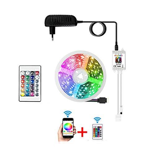 DZHT Tira De Luz LED SMD 5050 2835 Wifi Bluetooth RGB Cinta Con Controlador 12V 5M 10M 15M Luz Mágica Para El Hogar, Controlada Por Alexa (Color : A)