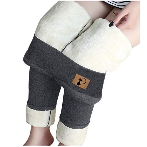 SmallYin Pantalones CáLidos Acolchados de Terciopelo para Mujer, Mallas de Terciopelo de Cordero Gatito, Medias de Cintura Alta de OtoñO e Invierno, Pantalones CáLidos y Suaves (Gris)