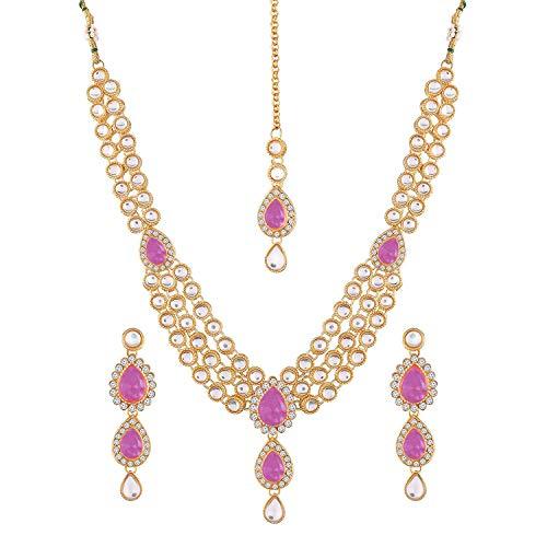 Aheli Wedding Wear Indian Kundan Maang Tikka - Juego de pendientes y collar de bollywood para mujer rosa