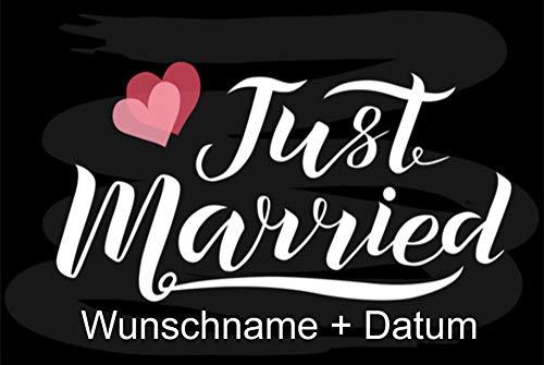 Crealuxe Fussmatte Just Married - (mit Wunschname und Datum)- - 3- Fussmatte, Bedruckt - Türmatte Innenmatte Schmutzmatte lustige Motivfussmatte