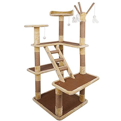 yunyun Grande Árbol Rascador,apartamento para Gatos De Varios Pisos, Plataforma De Salto Multifuncional Marco De Escalada para Gatos, para Gatos Pequeños Y Medianos