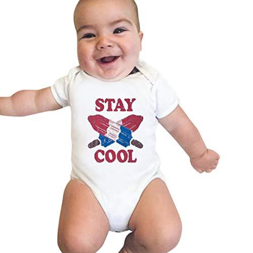 Julhold Verano Novedad 0-24 Meses recién Nacido Niños Casual Manga Corta Chándal Impresión Pelele de Algodón Bianco 6-9 Meses