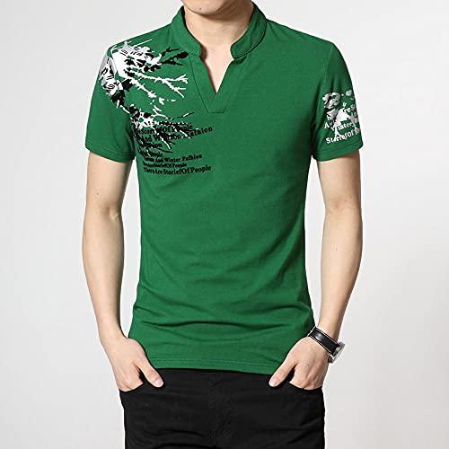 Camiseta De Manga Corta T-Shirt Camiseta De Manga Corta De Verano para Hombre Camiseta Negra Verde Top Hip Hop Punk Rock Ropa De Moda Tallas Grandes con Cuello En V-3012_D_5XL_For_190_Cm_100Kg