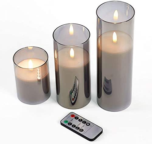 glowiu Flameless Candle Glass Gray Set of 3 H 4 6 7 9 x D3 Battery Operated Tall Cylinder Pillar product image