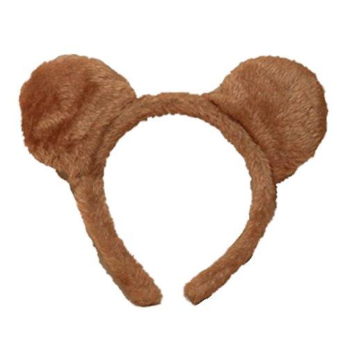 Diadema para el cabello de orejas de oso de peluche marrn