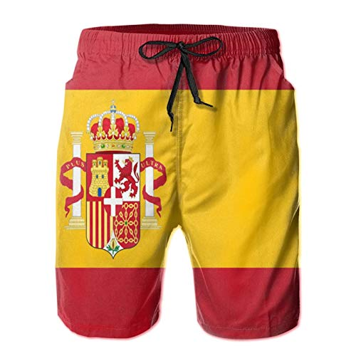 QUEMIN Flagge von Spanien Herren Casual Badehose Quick Dry Beach Shorts Sommer Boardshorts mit Mesh-Futter, M.