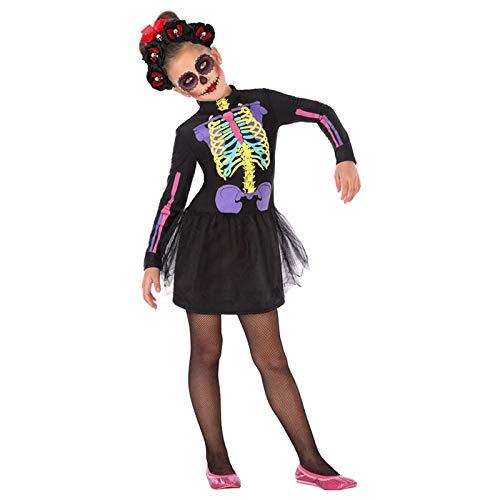 Atosa-55635 Atosa-55635-Disfraz Esqueleto para nia Infantil-Talla, Color negro 5 a 6 Aos (55635