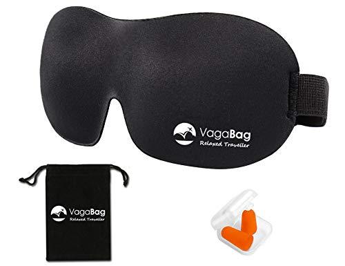 Verdunkelungsmaske; ultra-weiche Schlaf-Augenmaske mit Ohrstöpseln, Tragetasche und gratis eBook (Tiefschwarz)