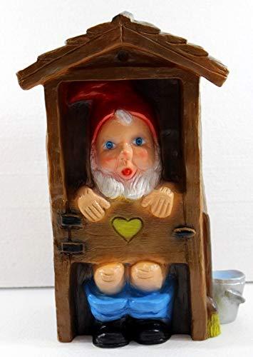 RAKSO Deko Figur Spaß Zwerg H 29 cm Gartenzwerg im WC-Häuschen Gartenfigur aus Kunststoff