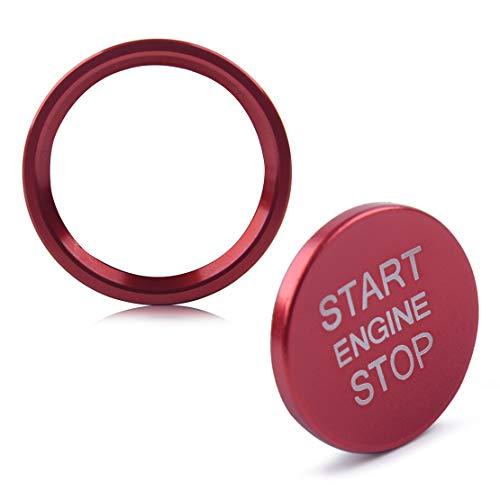beler 2PCS/Set Car Motor Start Stoppschalter Drucktastenabdeckung & Ringblende Aufkleber Rot