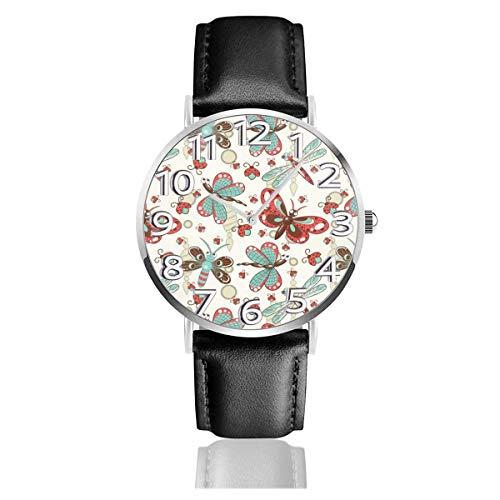 Reloj de Pulsera Mariposa de Dibujos Animados Blanco Durable PU Correa de Cuero Relojes de Negocios de Cuarzo Reloj de Pulsera Informal Unisex