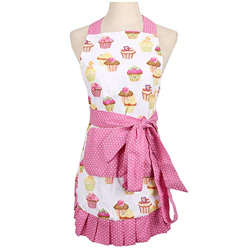 Mothers Apron for Women with Pockets, Extra Long Ties, Cupcake Apron, Perfect for Kitchen Cooking, Baking and Gardening, 29 x 21-inch