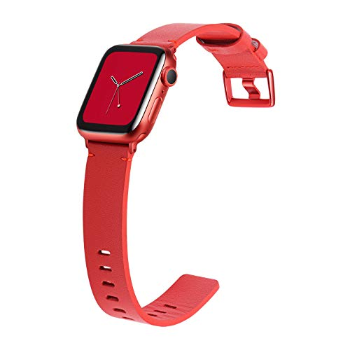 JSGJMY Genuine Leather Band with Case Compatible with Apple Watch 38mm 40mm 42mm 44mm Women Men for iWatch SE Series 6 5 4 3 2 1 (Red/Red Clasp, 42mm/44mm S/M)