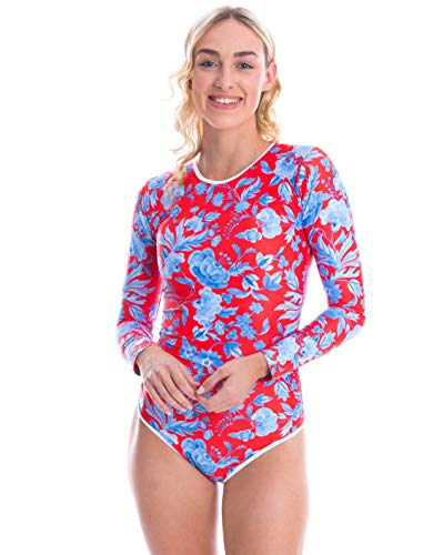 Long Sleeve Swimsuit Women, Rash Guard UPF50+ Zipper One Piece Bathing Swim Suit (16, Red)